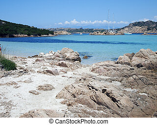 Landscape of Emerald Coast, Sardinia, Italy - View of the...