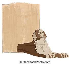 Sphinx - Papyrus background with the sphinx