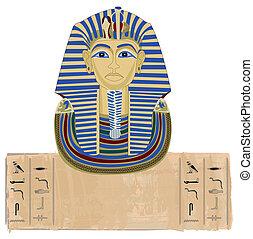 Tutankhamun and Hieroglyphs - Tutankhamun portrait and...