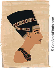 Nefertiti portrait illustrated on papyrus