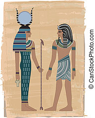 Pharaoh Figures illustrated on papyrus