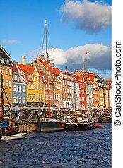 Copenhagen Nyhavn district in a sunny summer day