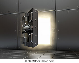Opening vault and volume light. 3d.