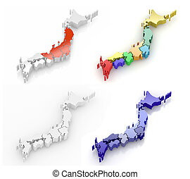 Map of Japan 3d - Map of Japan on white isolated background...