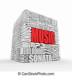 Music. Abstract cube. - Music. The concept of the words on...