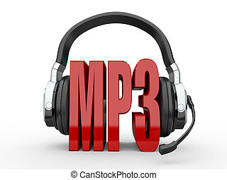 Text MP3 and handphones. 3d - Text MP3 and handphones on...