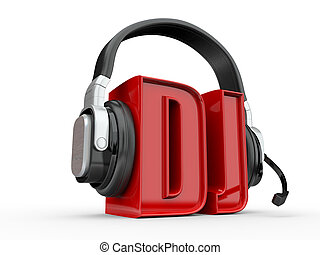Text DJ and handphones. 3d - Text DJ and handphones on white...