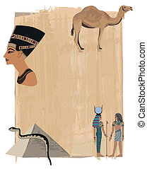 Nefertiti Papyrus Background - Papyrus background with...