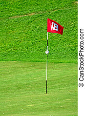 flag on golf course - 18th flag on the golf course