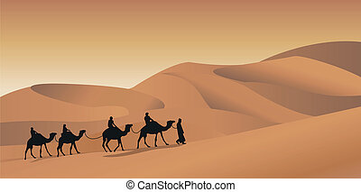 Camel Caravan - Background illustration with a camel caravan...