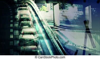 Rush hour - Comp of a fast moving clock and a traffic queue