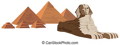 Sphinx and the Pyramids - Background illustration with the...