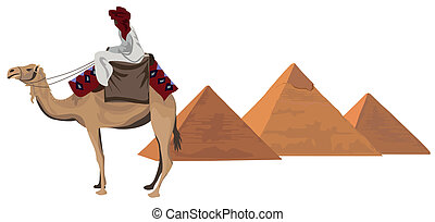 Bedouin and the Pyramids - Background illustration with a...