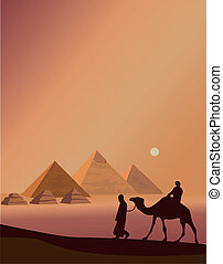 Bedouin and the Pyramids - Background illustration with...