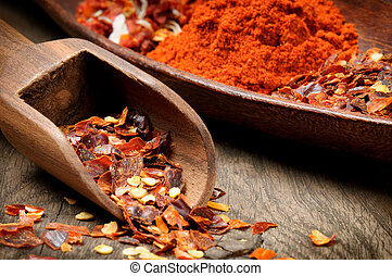 Red hot chili flakes and powder with wooden scoop