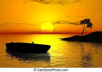 Tropical Sunset - Tropical island and drifting rowing boat...