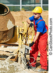 builder worker at construction site - builder laborer man...
