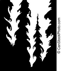 silhouette wood on white background
