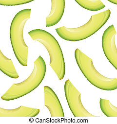 Thinly sliced pieces avocado. Vector seamless background.