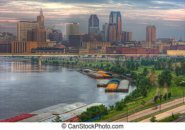 Cityscape of St Paul Minnesota in hdr