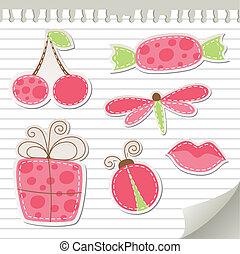 cute pink stickers set on realistic paper