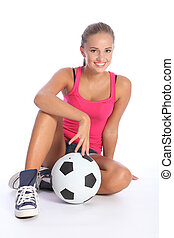 Beautiful fit teenage soccer player girl and ball - Fit...