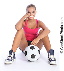 Beautiful smile from young teenage sports girl - Fit young...