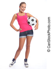Beautiful soccer player teenage girl with ball - Beautiful...