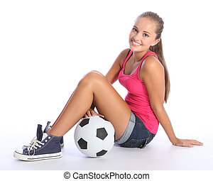 Beautiful teenage student girl with soccer ball - Beautiful...