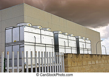 Industrial Cooling Towers used for refrigeration purposes in...