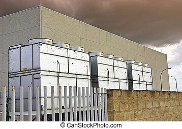 Industrial, esfriando, torres