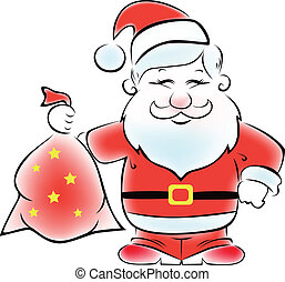 Santa with a sack of gifts. - Cute vector Santa with a sack...