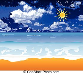 beach vector illustration with sun and cloud