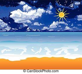 beach vector illustration with sun and cloud