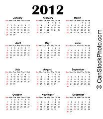 Calendar 2012 on white