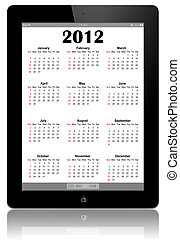 Calendar for 2012 in IPad on white - This is a calendar for...