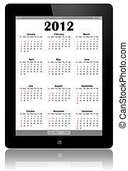 カレンダー, 2012, IPad, 白