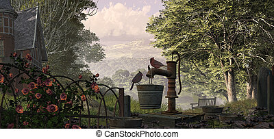 Cardinals And Water Pump - A countryside scene with...
