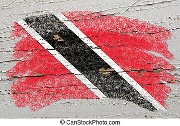Chalky trinidad and tobago flag painted with color chalk on...