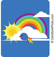 sky view of rainbow, sun, clouds and bird