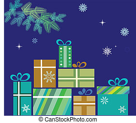 pile of presents for christmas on blue