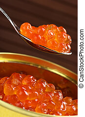 Canned caviar - Canned salmon caviar with spoon close-up on...
