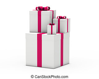 3d gift christmas pink white