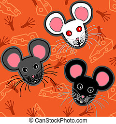 Seamless mice pattern - Seamless pattern of cute and fun...