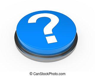 3d button blue question mark