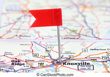 Knoxville, Tennessee. Red flag pin on an old map showing...