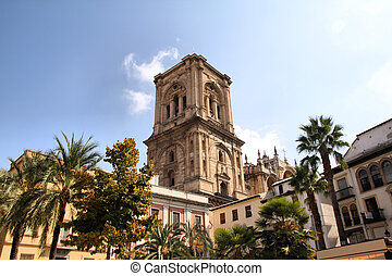 Granada in Andalusia region of Spain. Cathedral towering...