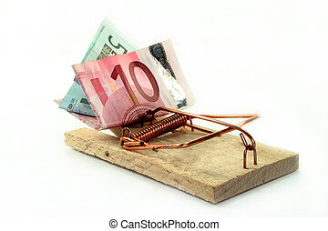 Cost trap - tense mousetrap with euro notes