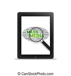 Tablet PC - Mass Media - Tablet PC with Mass Media words on...