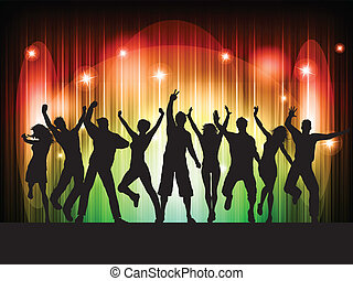People dancing - Silhouettes of people dancing on a...